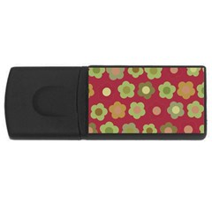 Floral pattern USB Flash Drive Rectangular (2 GB) by Valentinaart