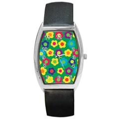 Floral Pattern Barrel Style Metal Watch by Valentinaart