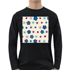 Floral Pattern Long Sleeve Dark T Shirts by Valentinaart