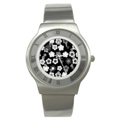 Floral Pattern Stainless Steel Watch by Valentinaart