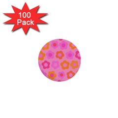 Pink Floral Pattern 1  Mini Buttons (100 Pack)  by Valentinaart