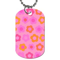 Pink Floral Pattern Dog Tag (two Sides) by Valentinaart