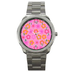 Pink Floral Pattern Sport Metal Watch by Valentinaart
