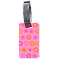 Pink Floral Pattern Luggage Tags (one Side)  by Valentinaart