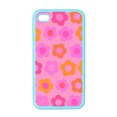 Pink Floral Pattern Apple Iphone 4 Case (color) by Valentinaart
