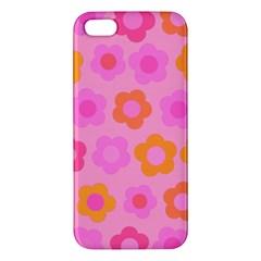 Pink Floral Pattern Apple Iphone 5 Premium Hardshell Case by Valentinaart