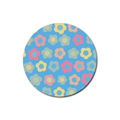 Floral Pattern Rubber Coaster (round)  by Valentinaart