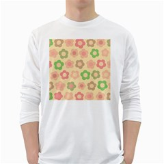 Floral Pattern White Long Sleeve T Shirts by Valentinaart