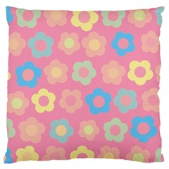 Floral Pattern Large Flano Cushion Case (one Side) by Valentinaart