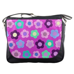 Floral Pattern Messenger Bags by Valentinaart