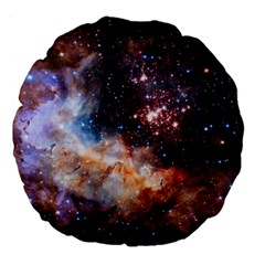 Celestial Fireworks Large 18  Premium Flano Round Cushions by SpaceShop