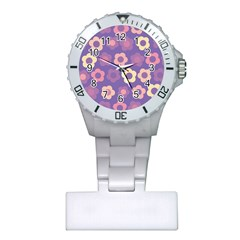 Floral Pattern Plastic Nurses Watch by Valentinaart