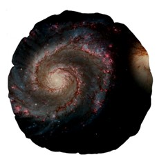 Whirlpool Galaxy And Companion Large 18  Premium Flano Round Cushions by SpaceShop