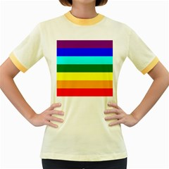 Rainbow Women s Fitted Ringer T Shirts by Valentinaart