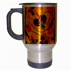 Floral Pattern Travel Mug (silver Gray) by Valentinaart