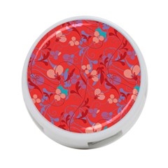 Floral Pattern 4 Port Usb Hub (one Side) by Valentinaart