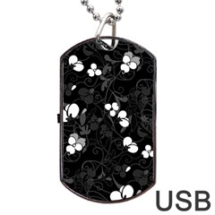 Floral Pattern Dog Tag Usb Flash (two Sides) by Valentinaart