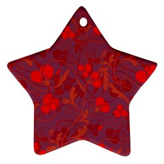 Red Floral Pattern Ornament (star) by Valentinaart