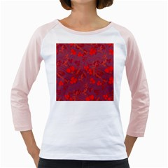 Red Floral Pattern Girly Raglans by Valentinaart