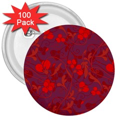 Red Floral Pattern 3  Buttons (100 Pack)  by Valentinaart