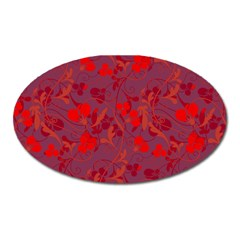 Red Floral Pattern Oval Magnet by Valentinaart