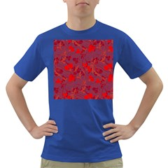 Red Floral Pattern Dark T Shirt by Valentinaart
