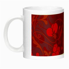 Red Floral Pattern Night Luminous Mugs by Valentinaart