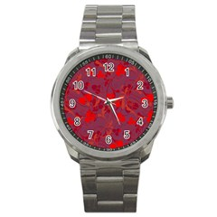 Red Floral Pattern Sport Metal Watch by Valentinaart