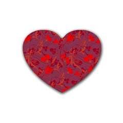 Red Floral Pattern Rubber Coaster (heart)  by Valentinaart