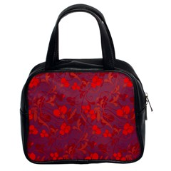 Red Floral Pattern Classic Handbags (2 Sides) by Valentinaart