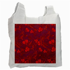 Red Floral Pattern Recycle Bag (one Side) by Valentinaart