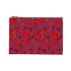 Red Floral Pattern Cosmetic Bag (large)  by Valentinaart