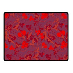 Red Floral Pattern Fleece Blanket (small) by Valentinaart