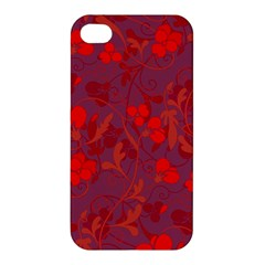 Red Floral Pattern Apple Iphone 4/4s Hardshell Case by Valentinaart