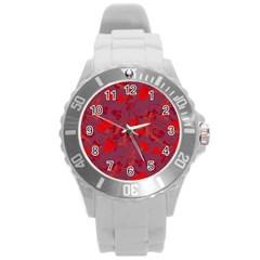 Red Floral Pattern Round Plastic Sport Watch (l) by Valentinaart