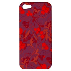 Red Floral Pattern Apple Iphone 5 Hardshell Case by Valentinaart
