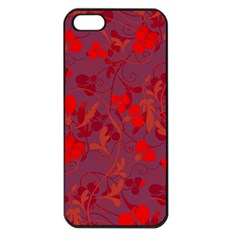Red Floral Pattern Apple Iphone 5 Seamless Case (black) by Valentinaart