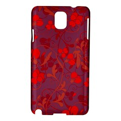 Red Floral Pattern Samsung Galaxy Note 3 N9005 Hardshell Case by Valentinaart