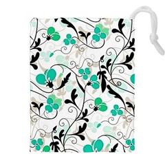Floral Pattern Drawstring Pouches (xxl) by Valentinaart