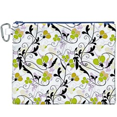 Floral Pattern Canvas Cosmetic Bag (xxxl) by Valentinaart