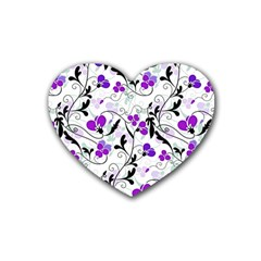 Floral Pattern Heart Coaster (4 Pack)  by Valentinaart