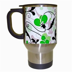Floral Pattern Travel Mugs (white) by Valentinaart