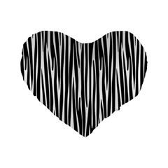 Zebra Pattern Standard 16  Premium Heart Shape Cushions by Valentinaart