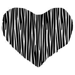 Zebra Pattern Large 19  Premium Heart Shape Cushions by Valentinaart