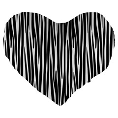 Zebra Pattern Large 19  Premium Flano Heart Shape Cushions by Valentinaart