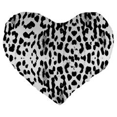 Animal Print Large 19  Premium Flano Heart Shape Cushions by Valentinaart