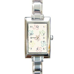 Flower Background Nature Floral Rectangle Italian Charm Watch by Simbadda
