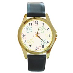 Flower Background Nature Floral Round Gold Metal Watch by Simbadda