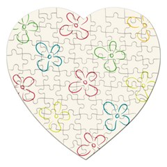 Flower Background Nature Floral Jigsaw Puzzle (heart) by Simbadda