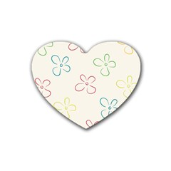 Flower Background Nature Floral Rubber Coaster (heart)  by Simbadda